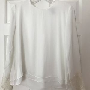Forever 21 White Long Sleeve Top with Lace Sleeves